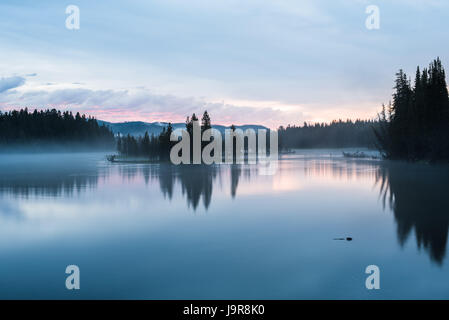 A river scene in the dawn light at Yellowstone National Park. - Stock Photo