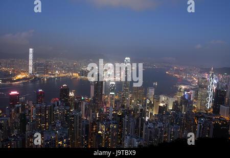 Hong Kong, China. 10th Nov, 2012. Night view of the Victoria Bay is seen in Hong Kong, south China, Nov. 10, 2012. - Stock Photo