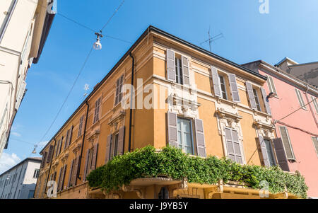 Colourful residential housing in central Parma city Emilia-Romagna region central Italy Europe - Stock Photo