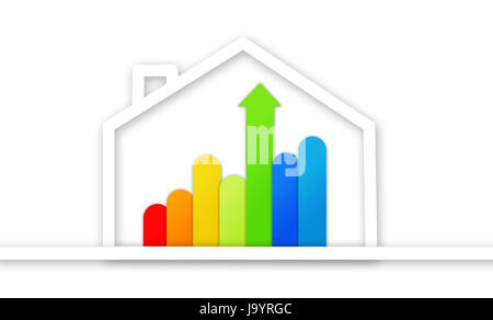 Graphical presentation of energy efficient house against white background - Stock Photo