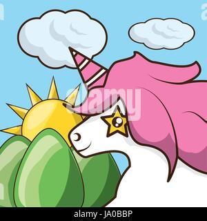 beautiful head unicorn with colorful landscape - Stock Photo