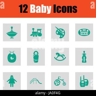 Baby icon set. Green on gray design. Vector illustration. - Stock Photo