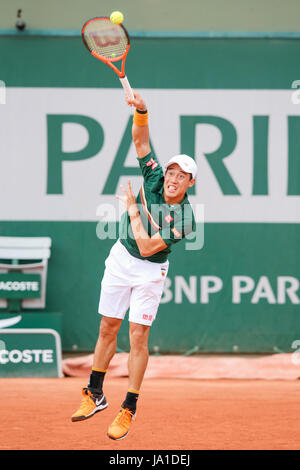 Paris, France. 3rd June, 2017. Kei Nishikori (JPN) Tennis : Kei Nishikori of Japan during the Men's singles third - Stock Photo