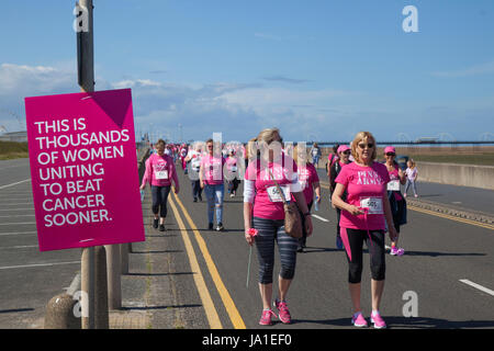 Southport, Merseyside, 4th June, 2017. Race for Life UK Runners dressed in pink for Cancer Charity event. Thousands - Stock Photo