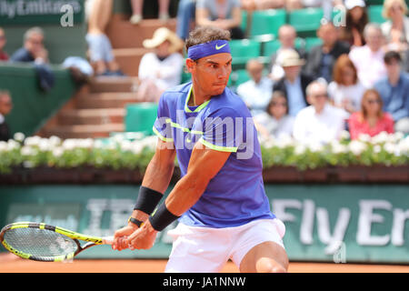 Paris, France. 04th June, 2017. Spanish tennis player Rafael Nadal is in action during his match in the 3rd round - Stock Photo