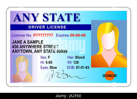 Illustration of a generic state driver license of a female driver identification card on isolated white background. - Stock Photo