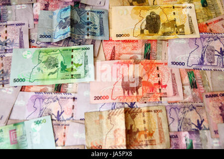 The colorful and creative money of Uganda - Stock Photo