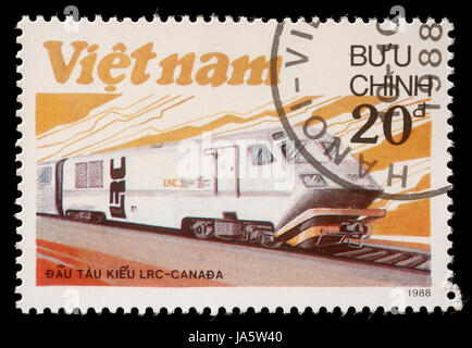 VIETNAM - CIRCA 1988: A stamp printed in Vietnam shows locomotive LRS produced in Canada, circa 1988 - Stock Photo