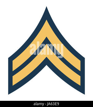 American Corporal insignia rank badge isolated on white background. - Stock Photo