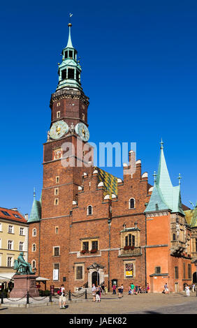 WROCLAW, POLAND - AUGUST 04, 2013: Town hall in the market square in Wroclaw on 04 August 2013. Poland - Stock Photo