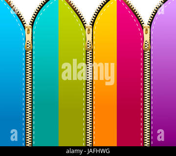 Set of colored zippers background. - Stock Photo
