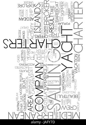 AREAS TO VISIT ON MEDITERRANEAN YACHT CHARTERS TEXT WORD CLOUD CONCEPT - Stock Photo