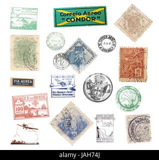 Verschiedene historische  Briefmarken und Poststempel aus Brasilien - Stock Photo