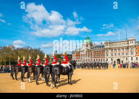 Royal Guards in red uniform on horses, The Lifeguards, The Blues and Royals, Household Cavalry Mounted Regiment, - Stock Photo