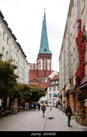 BERLIN, GERMANY - OCTOBER 17: Nikolaiviertel (Nicholas Quarter) in Berlin on October 17, 2013. District Nikolaiviertel - Stock Photo