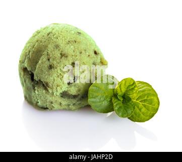 Sorbet pistachio banana on white isolated background - Stock Photo