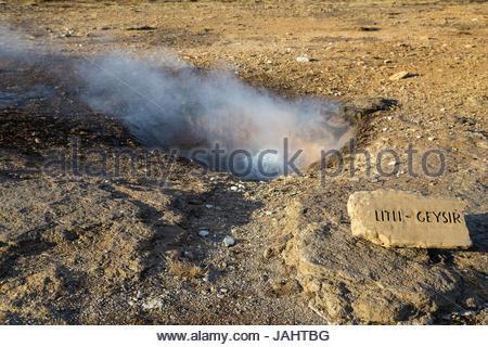 Litli Geysir, or Little Geysir, is one of around thirty small geysers located near Geysir geyser. - Stock Photo