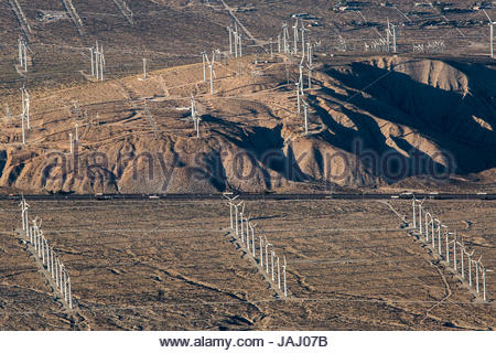 A portion of the more than 3,000 wind turbines at the San Gorgonio Pass Wind Farm outside Palm Springs, seen from - Stock Photo