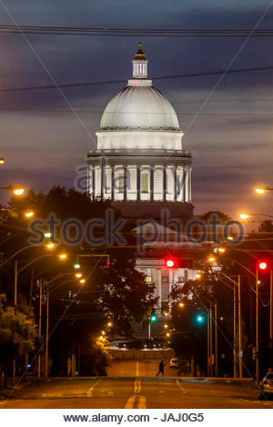 The Arkansas State Capitol building. Looking down West Capitol Avenue in Little Rock. - Stock Photo