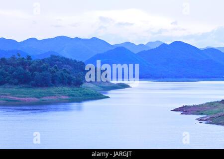 Kaeng Krachan Dam ,Kaengkrachan National Park Thailand in evening - Stock Photo