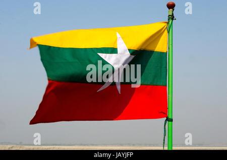 Myanmar flag - Stock Photo