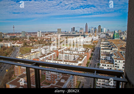 View from the Westside Tower to the Europaviertel in Frankfurt. In the background are the fair and the Messeturm. - Stock Photo
