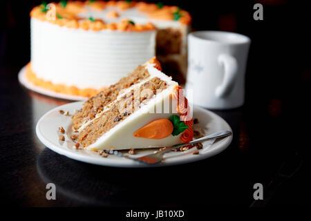 Carrot Cake, Cake, Cream Cheese Frosting, Dessert, Coffee - Stock Photo