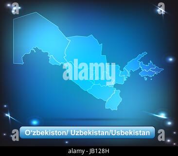 Usbekistan in Asien als Grenzkarte mit Grenzen als leuchtende Karte. Durch die ansprechende Gestaltung fügt sich - Stock Photo