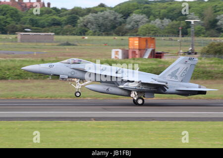 168907, a Boeing F/A-18E Super Hornet, operated by VFA-143 'Pukin Dogs' of the United States Navy, arriving at Prestwick - Stock Photo