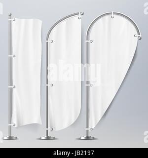 Realistic Template Blank White Flags Vector. Advertising Flag Banner And Fabric Canvas Poster For Advertising - Stock Photo