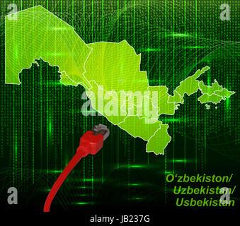 Usbekistan in Asien als Grenzkarte mit Grenzen in dem neuen Netzwerkdesign. Durch die ansprechende Gestaltung fügt - Stock Photo