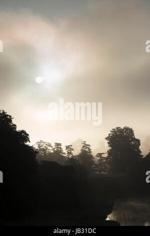 Woodstock church in the distance between trees on an early misty morning. Oxfordshire, England. Silhouette - Stock Photo