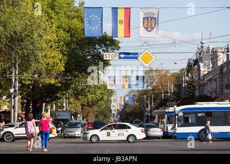 27.08.2016, Moldova, Chisinau, Chisinau - Flag of the Republic of Moldova, the EU flag as well as a flag with the - Stock Photo