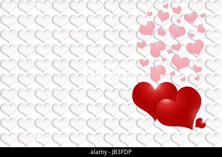 Three red hearts - two large and one small. Pink hearts falling from the top. The background is made from white - Stock Photo