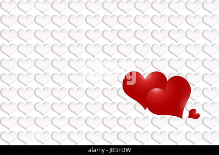 Three red hearts - two large and one small. The background is made from white hearts with shadow. - Stock Photo