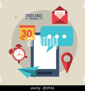 colorful poster freelance business with smartphone clock mail calendar - Stock Photo