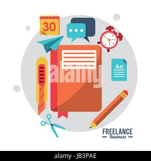 colorful poster freelance business with notebook clock cutter calendar pencil - Stock Photo
