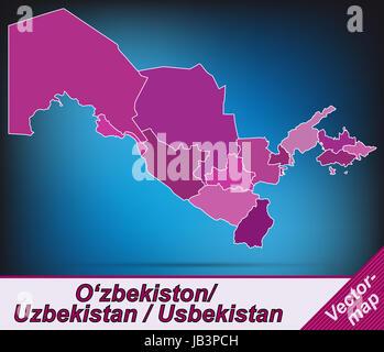Usbekistan in Asien als Grenzkarte mit Grenzen in Violett. Durch die ansprechende Gestaltung fügt sich die Karte - Stock Photo