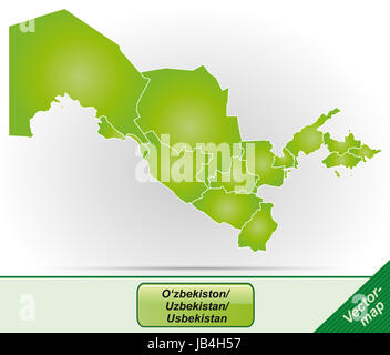 Usbekistan in Asien als Grenzkarte mit Grenzen in Grün. Durch die ansprechende Gestaltung fügt sich die Karte perfekt - Stock Photo