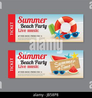 summer beach party invitation ticket template background - Stock Photo