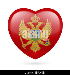 Heart with Montenegrin flag colors. I love Montenegro - Stock Photo