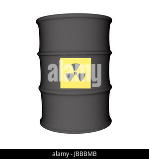 Nuclear danger symbol over metal barrel, isolated over white, 3d render - Stock Photo