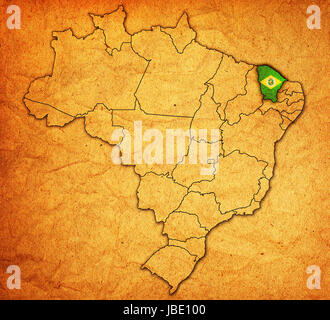 ceara on admistration map of brazil with flags - Stock Photo