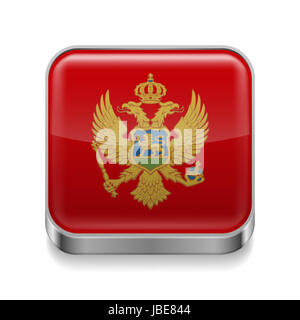 Metal square icon with  Montenegrin flag colors - Stock Photo