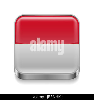 Metal square icon with Monegasque flag colors - Stock Photo