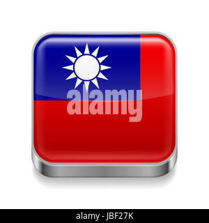 Metal square icon with flag colors of Taiwan - Stock Photo