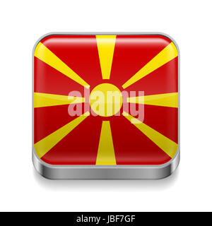 Metal square icon with Macedonian flag colors - Stock Photo