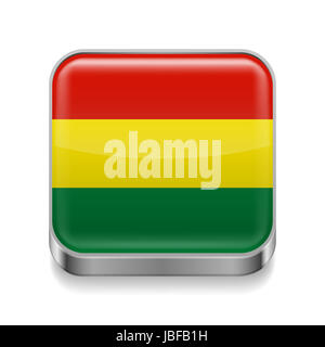 Metal square icon with Bolivian flag colors - Stock Photo