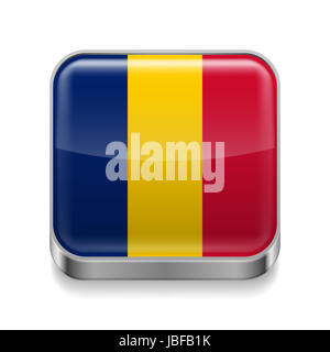 Metal square icon with Chadian flag colors - Stock Photo