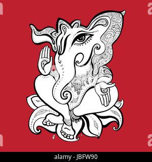 Hindu God Ganesha. Vector hand drawn illustration. - Stock Photo